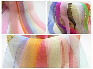 10 Meter Sheer Organza Ribbon 25mm 38mm 50mm Gift Bow Wedding Craft 10 Color