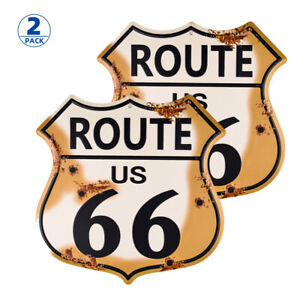 2Pack-US Route 66 Tin Sign Metal Sign US Made Vintage Rustic Garage Man Cave
