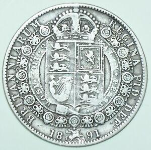 1891 VICTORIA JUBILEE HEAD HALFCROWN, BRITISH SILVER COIN aVF