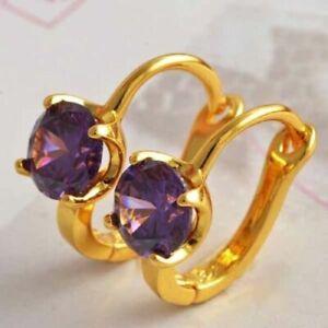 Classic New Yellow Gold Filled Purple Amethyst CZ U-Shape Huggie Hoop Earrings