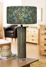 68cm grande Scuro Bambù Legno Lampada da tavolo con stampa REGALO lampshade GRIGIO bacche