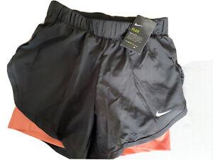 Womens Nike Running Shorts Size Extra Small Flex Lined Black, Peach BNWT!