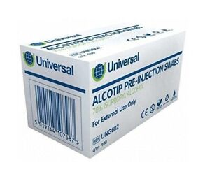 Universal Alcotip Pre Injection IPA Alcohol Swabs - Antiseptic 70% Isopropyll