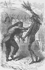 UNITED STATES. The Serpent and Beaver dance of the Indians 1890 old print
