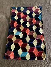 "Antique Hand Made Silk Velvet Doll's Quilt ""Tumbling Blocks"" Colorful Graphic"