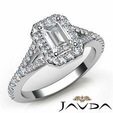 Natural Emerald Diamond Engagement Halo Pave Set Ring GIA F VVS2 Platinum 1.21Ct