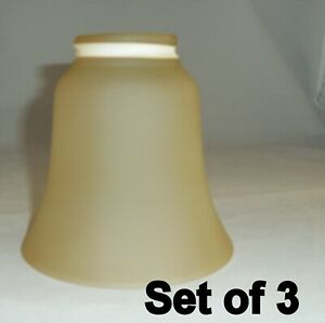 3 Light Gold frosted Glass Ceiling Fan Globe Light Shade Vanity Replacement
