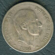 1881 Spanish Philippines 50 Centimos ALFONSO XII Rey De Espana SILVER Coin #AA2