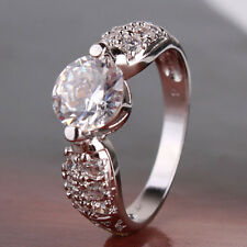 Brand new luxury woman bling 18k white gold filled lady sparking ring Sz5-Sz9
