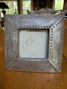 Studded Rivet Pewter Silver Metal Photo Picture Frame Industrial Deco Style