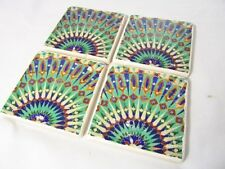 Moroccan Mosaic Handmade Ceramic Tile Coasters (Set of 4)