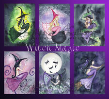 WITCH MAGIC MERMAID NOTE CARDS from Original Watercolors by Grimshaw Halloween