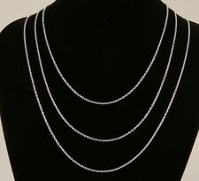 "16"" to 24"" Silver Plated Fine Curb Chain 1mm Mens Womens Necklace 40 to 60 cm"