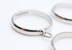 10 PCS - Adjustable Silver Color Rings with Loop - Fashion Jewelry Supplies