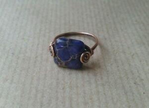 Oxidized Copper and Sea Sediment Jasper Gemstone Wire Wrapped Ring Handmade