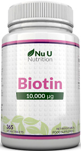 Biotin Hair Growth Supplement 365 Tablets (Full Year Supply) 10,000mcg by Nu U