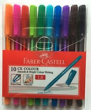 10 Faber-Castell CX 1.0 Roller Point Pen with Water Resistant Ink (10 Colors)
