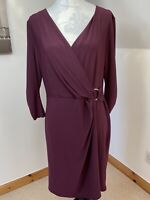 Wallis Petite 14 Red Faux Wrap Dress Crossover Chest Gathered Sleeves Stretchy