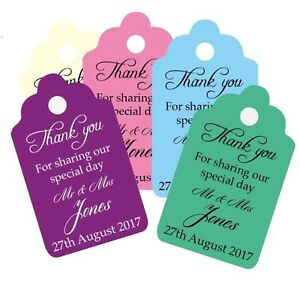 Personalised Wedding Thank You For Sharing Our Special Day Tags Any Colours