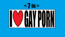 I LOVE GAY PORN BUMPER STICKER - HOMOSEXUAL PRIDE RAINBOW FLAG
