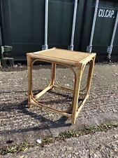 Vintage Bamboo Rattan Wicker Plant Stand Table Bedside Boho Tiki