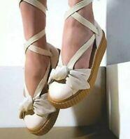 Puma Women's Fenty By Rihanna Creeper Bow Sandals Cream Size 7.5 NEW.