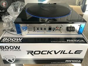 Rockville RW10CA 10 800 Watt Slim Low Profile Active Powered Car Subwoofer Sub