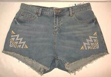 GB Women's Hyper Beauty Blue Denim Fringe Jean Shorts Size 9 NWTS!