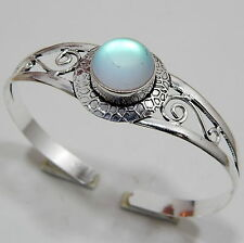 Rough Aqua Rainbow Mystic 925 Starling Silver Handmade Jewelry Bangle 18 Gm