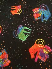 1 YARD Laurel Burch FLANNEL Jungle Soul Monkey Family Black Christmas PJs OOP