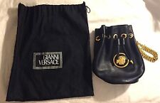 Gianni Versace Black leather Vintage purse RARE! Bucket Bag