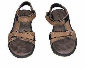 Teva Pretty Rugged Brown Leather Hike Trail Open Toed Sandals Size 9 Women's