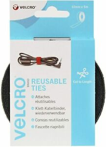 VELCRO® One Wrap Ties Cable Tidy Hook & Loop Reusable Tie Rolls Black 10mm x 5m