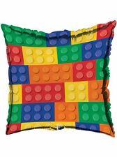 "Bloque de inspiración Lego Decoración Fiesta De Cumpleaños Foil Balloon 18"" mensaje no"