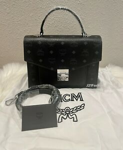 NEW Authentic Mcm Black Patricia Satchel In Visetos Retail $795🌼