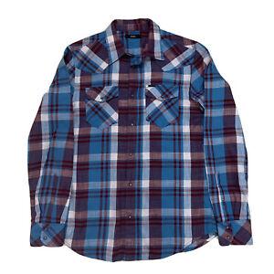 Mint ! Vintage Large DIESEL Red / Blue Pearl Snap Plaid Flannel Shirt