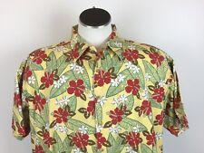 Kahala Men's 2XL Yellow Hawaiian Aloha Camp Shirt Red Hibiscus