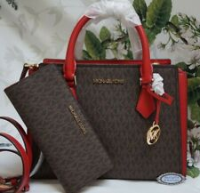 Michael Kors Leather Crossbody Bag Handbag Purse Satchel Brown Flame Logo MK