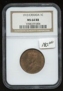 1913 Canada One Cent - NGC MS64 RB