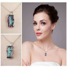 Chic 925 Silver Mystic Rainbow Topaz Pendant Chain Chocker Necklace Party Prom