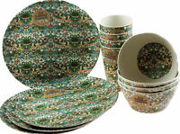 12 Piece William Morris Strawberry Thief Bamboo Dining Set - Plates, Bowls, Cups