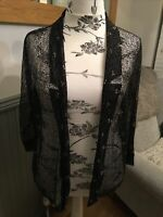 River Island Sheer Black and Gold Lace Open Jacket, Pretty (Size 18)