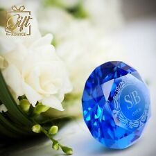 Personalized Customized Engraved Paperweight Heart Shape Sapphire Blue Crystal