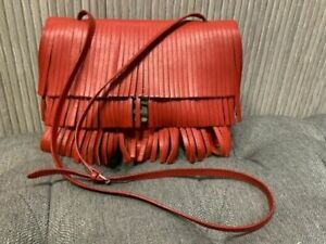 Authentic Proenza Schouler Small Lunchbag Fringe Mandarin Red Shoulder/crossbody