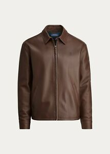 Polo Ralph Lauren Men's Lambskin Leather Jacket Bison Brown -  Small