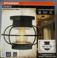 ✅NEW Sylvania Essex Vintage Matte Black Ceiling Mount Cage Light Fixture Kit🔥🔥