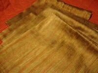 Vintage Set (4) Gold/Brown Striped Cloth Linen Table Napkins Holiday Decor   230