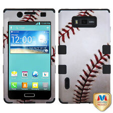 For LG Optimus Showtime L86c Rubber IMPACT TUFF HYBRID Case Phone Cover Baseball