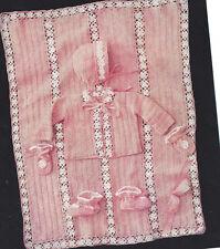 Vintage Crochet PATTERN to make Baby Sweater Set Hat Booties Afghan FlowerSet