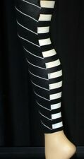 LADIES PRETTY POLLY BLACK & WHITE STRIPED FOOTLESS OPTICAL CAPRI TIGHTS ..